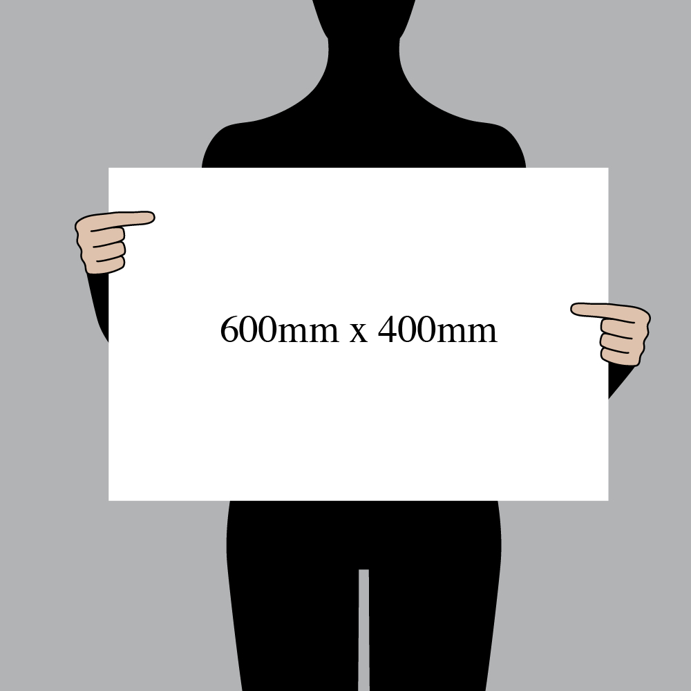 "Size indication of 600mm (24"") / 400mm (16"")"