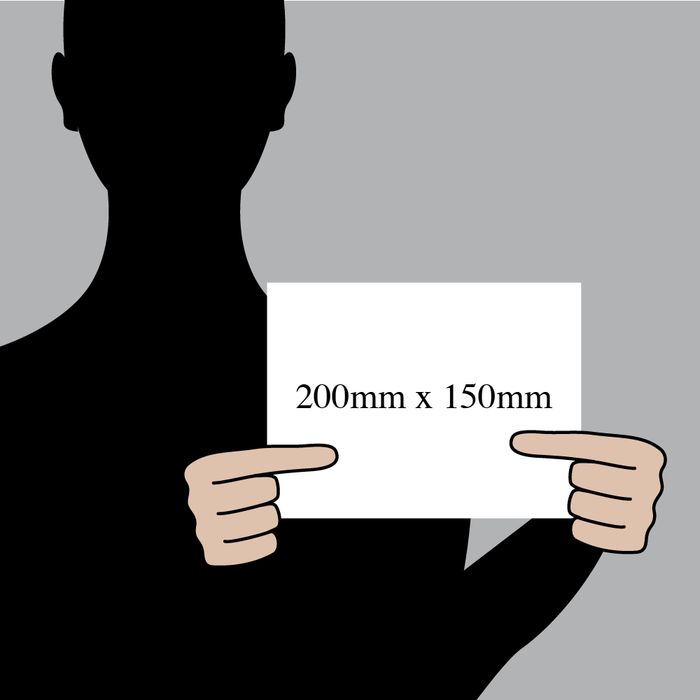 "Size indication of 200mm (8"") / 150mm (6"")"
