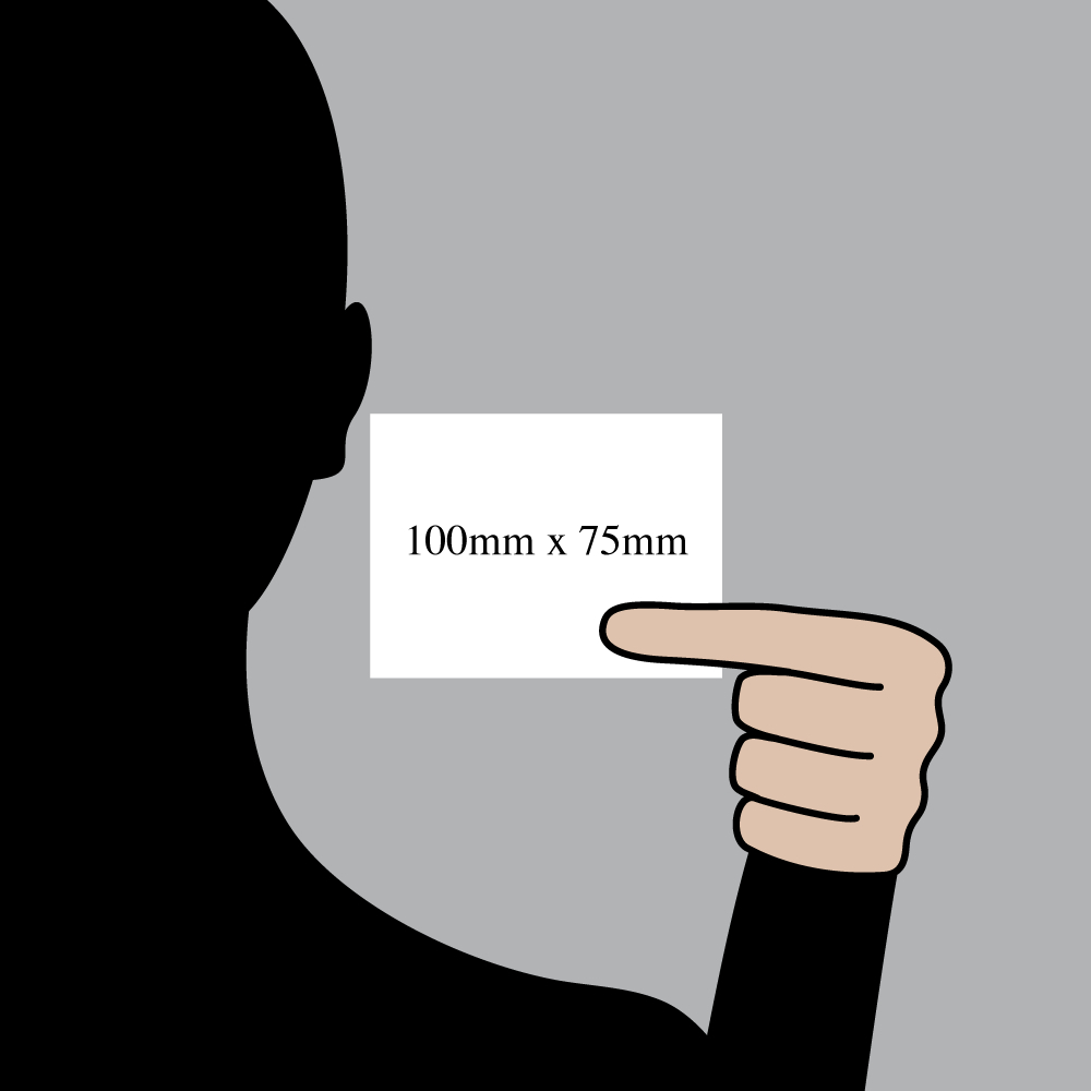 "Size indication of 100mm (4"") / 75mm (3"")"