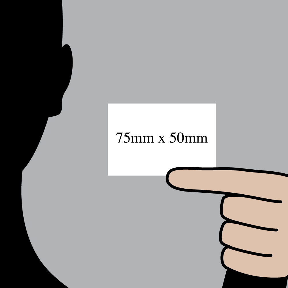 "Size indication of 75mm (3"") / 50mm (2"")"