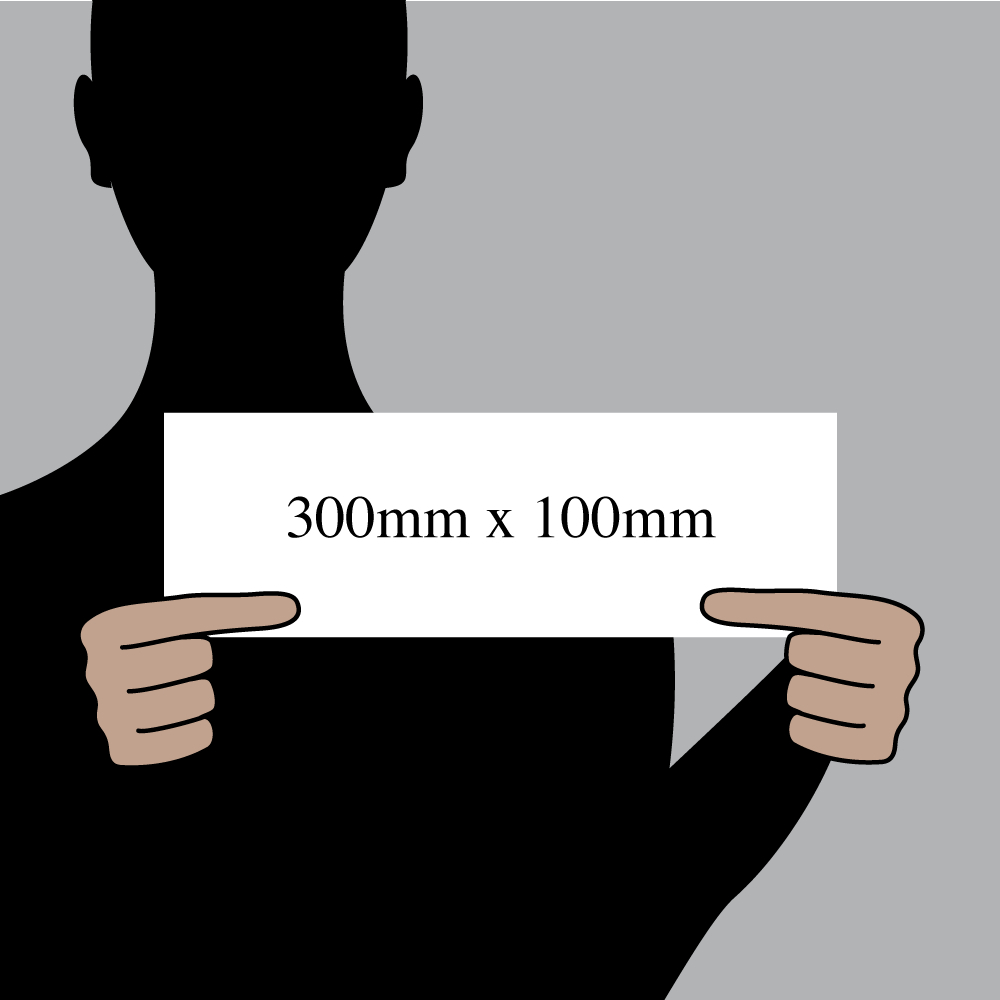 "Size indication of 300mm (12"") / 100mm (4"")"