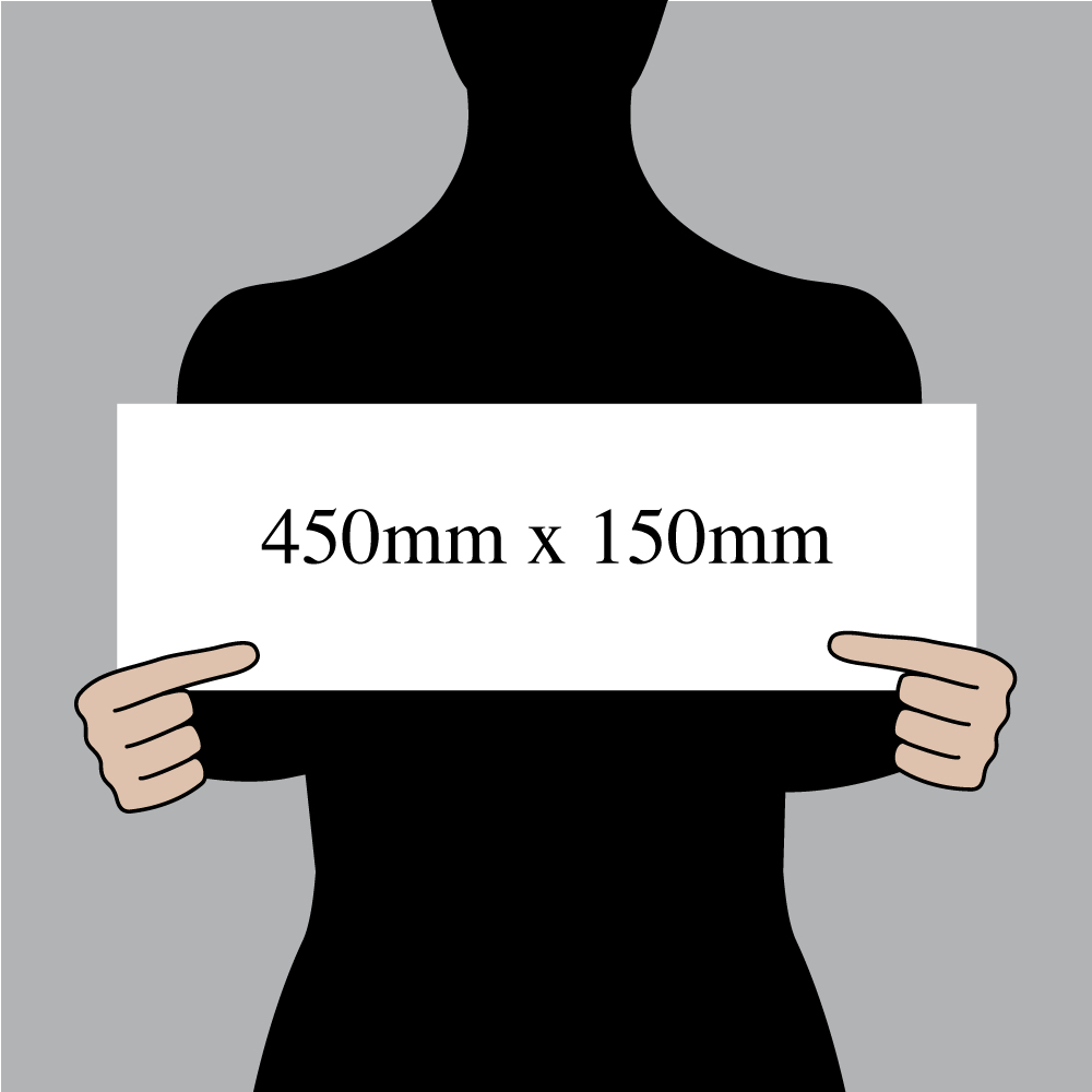 "Size indication of 450mm (18"") / 150mm (6"")"
