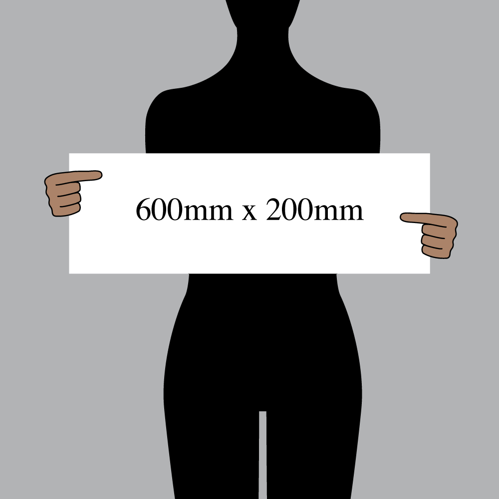 "Size indication of 600mm (24"") / 200mm (8"")"