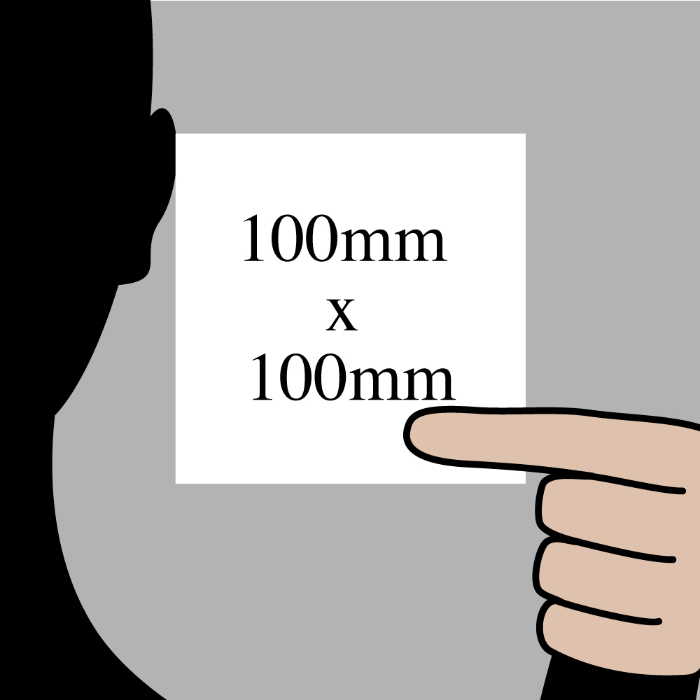 "Size indication of 100mm (4"") / 100mm (4"")"