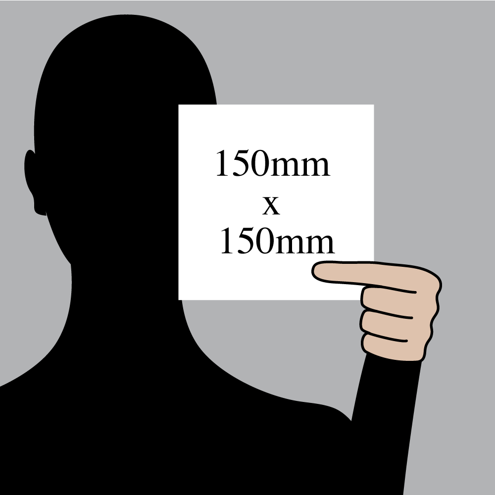 "Size indication of 150mm (6"") / 150mm (6"")"