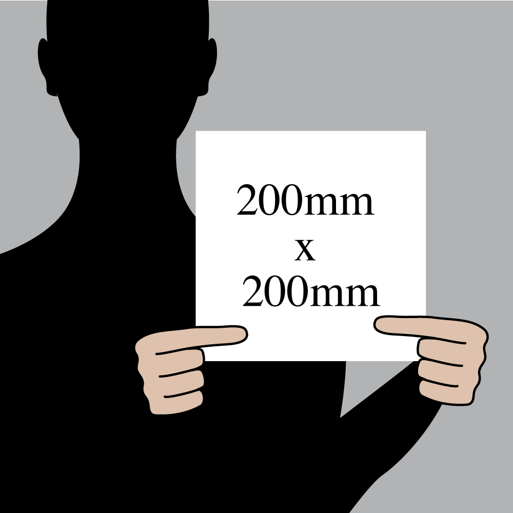 "Size indication of 200mm (8"") / 200mm (8"")"