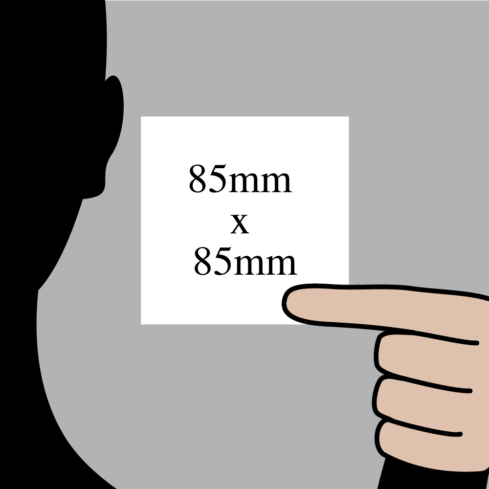 "Size indication of 85mm (3.5"") / 85mm (3.5"")"